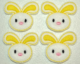 Brite Yellow Spring Bunny Felt Embroidered Embellishment Clippie Cover SET of 4