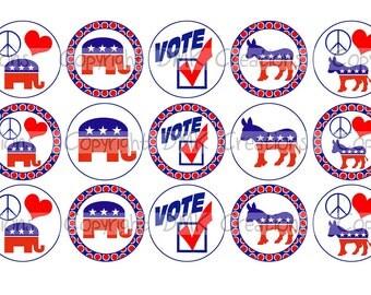 VOTE Political Bottle Cap Images 4x6 Printable Bottlecap Collage INSTANT DOWNLOAD