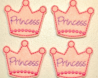 Princess Crown Applique Purple & Hot Pink on Pink Felt Embroidered Embellishment Clippie Cover SET of 4