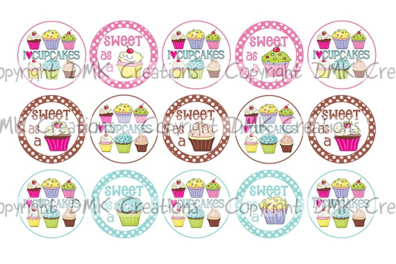 Sweet As A Cupcake Bottle Cap Images 4x6 Printable Bottlecap Collage INSTANT DOWNLOAD