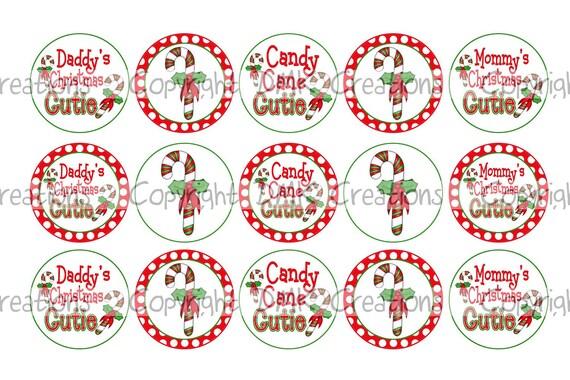 Candy Cane Cutie Christmas Bottle Cap Images 4x6 Printable Bottlecap Collage INSTANT DOWNLOAD