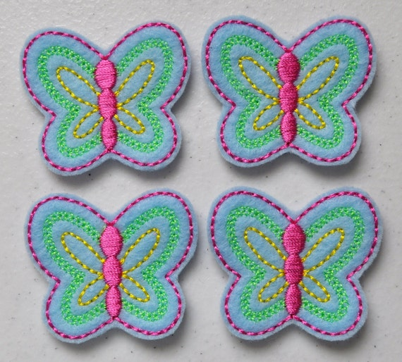 Spring Butterfly Applique on Light Blue Felt Embroidered Embellishment Clippie Cover SET of 4