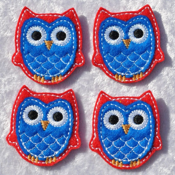 Patriotic Owl Applique Blue Belly on Red Felt Embroidered Embellishment Clippie Cover SET of 4