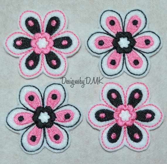 Flower Applique Pink & Black on White Felt Embroidered Embellishment Clippie Cover SET of 4