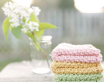 Knitted Dishcloths in Cotton- Springtime