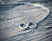 Infinity Necklace Eternity symbol Antiqued silver plate charm adjustable chain