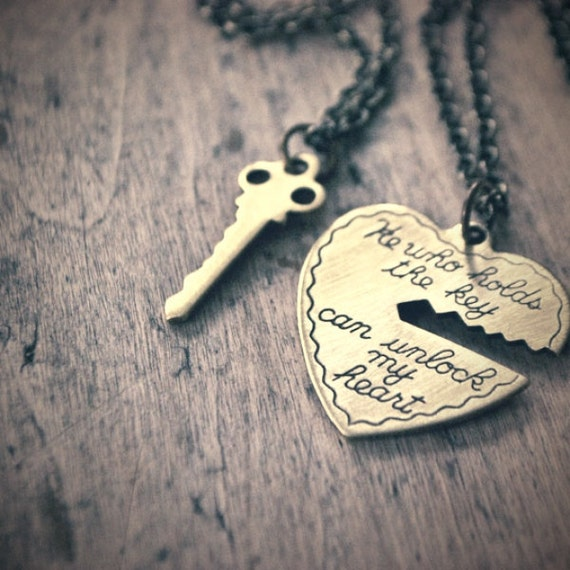 2 necklace set - He Who Holds The Key can Unlock my Heart