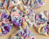 Flower pattern yoyos, 6 pcs purple pink blue yellow white, up-cycled synthetic fabric Suffolk Puffs, applique embellishments.
