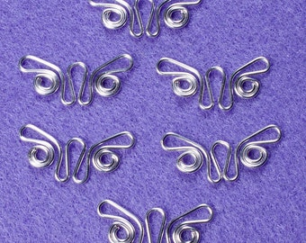 Silver plate butterfly charms or dangles, 6 pc, in 20 ga silver plate wire.