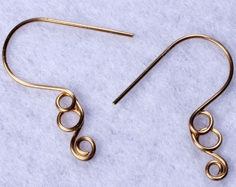 4 pairs of fancy ear wires, hook style in 20 ga brass wire, with a textural swirly loop, hand made jewelry findings, more available.