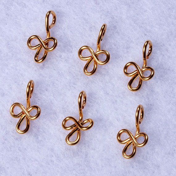 gold charms or dangles 6 gold plated trefoil or clover leaf