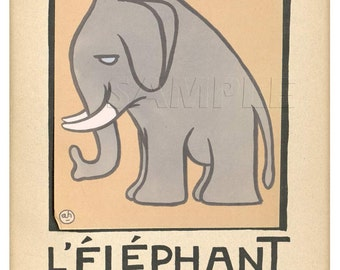 Elephant - L'Elephant - Vintage French   Print - 11 x 15 inches