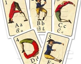 Fantastic  LARGE Alphabet  Cards INCLUDES Mini Clothespins Set  for Hanging