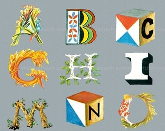 Many Things - ABC - alphabet - Colorful - Every letter is different - FUN - Unique Alphabet -  Child's Room Decor  17 x 11 inch