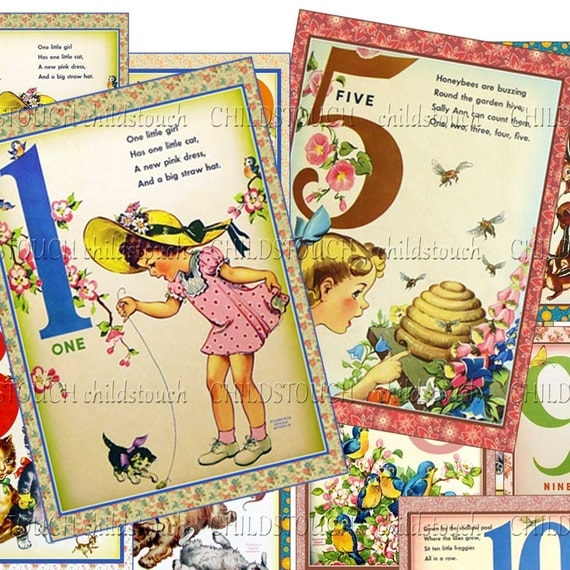 Counting is Fun - Vintage Style -  Counting Cards - Includes Mini ClothesPins for Hanging - Set002