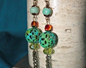 Boho Style Crystal and Patined Metal Dangle Earrings, One of a Kind