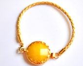 Candy store collection gemstone bracelet handmade yellow  stone in gold star frame gold leather cord