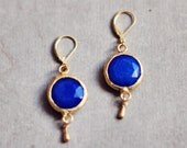 everyday earrings navy blue stone in textured golden frame cute ,delicate , feminine, simple colorful elegant Isarel Jewelry