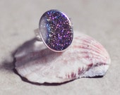 everyday fashion Jewelry  golden mystic druzy  blue purple white glitter agate stone silver statment ring simple,elegant sparkle israel