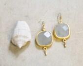 Wedding bridal Jewelry  milky white greyish Chalcedony stone  gold frame LONG bold simple elegant  earrings israel