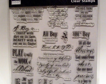 Simple Thoughts-Boy 14 pieces CLEAR/ACRYLIC STAMP set Cloud9design by Fiskars