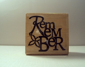 Remember Wooden Mounted Rubber Stamping Block DIY cards, scrapbooking, tags, Greeting Cards, and Scrapbooking