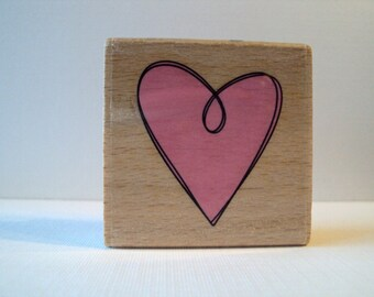 Scribbled HEART Wooden Mounted Rubber Stamping Block DIY cards, tags, Valentines, Greeting Cards, and Scrapbooking