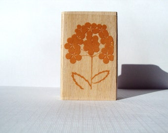 Hydrangea Flower Wooden Mounted Rubber Stamping Block DIY cards, scrapbooking, tags, Greeting Cards, and Scrapbooking