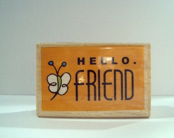 Hello Friend Mounted Rubber Stamping Block DIY cards, scrapbooking, tags, Greeting Cards, and Scrapbooking