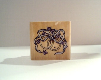 Wedding Bands Wooden Mounted Rubber Stamping Block DIY cards, tags, invitations, and Scrapbooking by Rubber Stampede