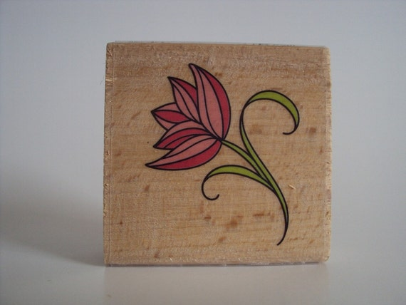 Profile of a Flower Wooden Mounted Rubber Stamping Block DIY cards, scrapbooking and tags, Invitations, Greeting Cards, and Scrapbooking