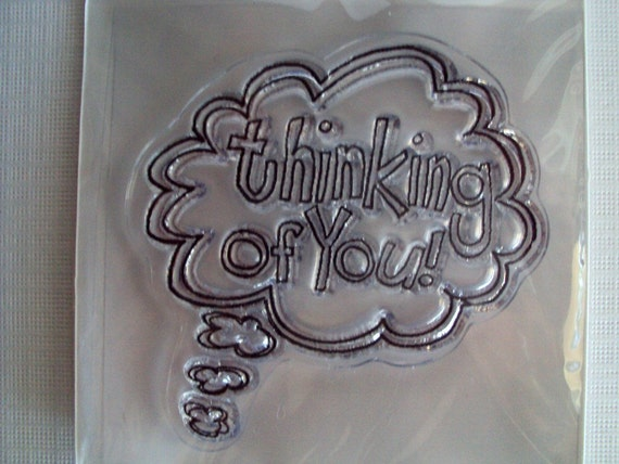 Thinking of You clear mini cling stamp for acrylic block STAMPING Scrapbooking, Tags, & Cardmaking Autumn Leaves by Tia Bennett