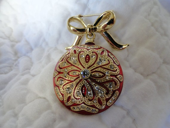 Vintage Monet, Ruby Red,Cloisonnne Christmas Ornament Brooch, Encrusted w/ Rhinestones. In It's Original Box.