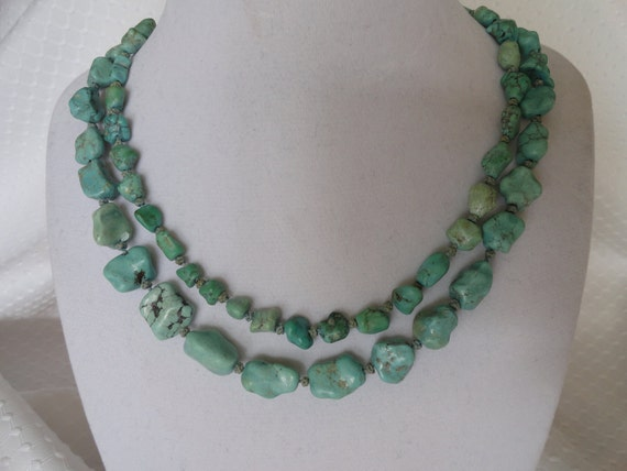 "Vintage Turquoise,  33"",Nugget Necklace."