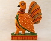 Vintage Handcrafted Folk Toy Partridge - Yellow - FREE SHIPPING