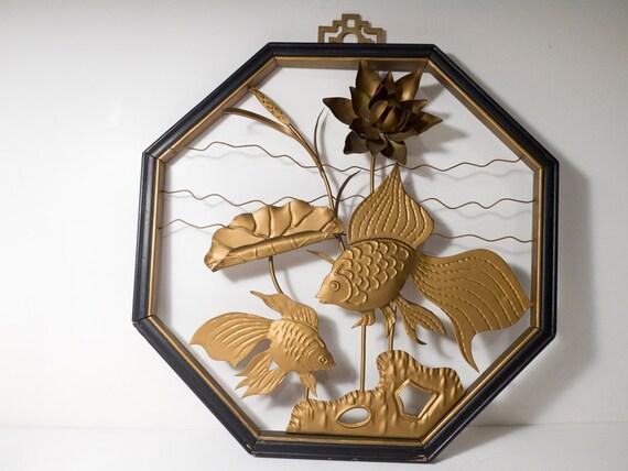 Vintage hanging art goldfish and lotus