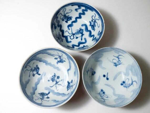 RESERVED 3 ceramic bowls goldfish design