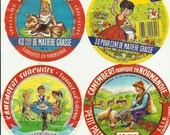 4 Vintage french happy child illustration on cheese labels - scrapbooking, collage, paper ephemera