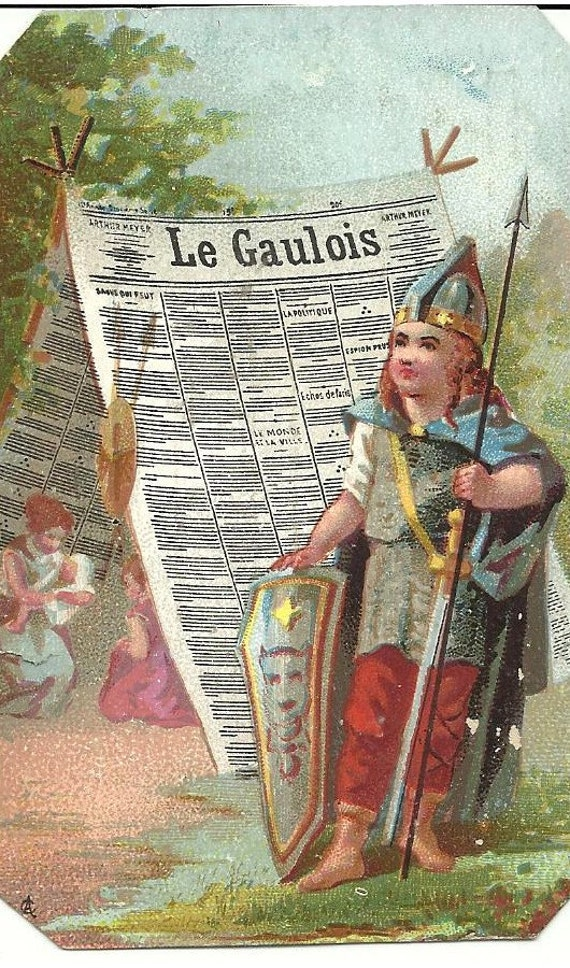 Gauls - Newspaper - Antique French Trade Card, Chromo