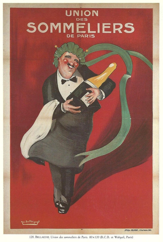 Antique French WINE advertisement poster - sommelier 1920s