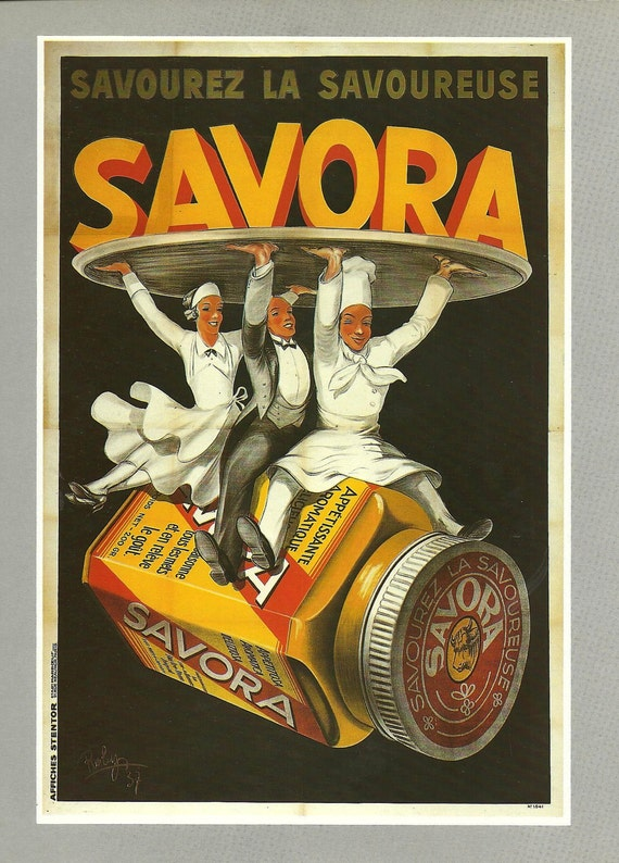 French wall hanging advertising food for SAVORA - cook, waiter 1920s
