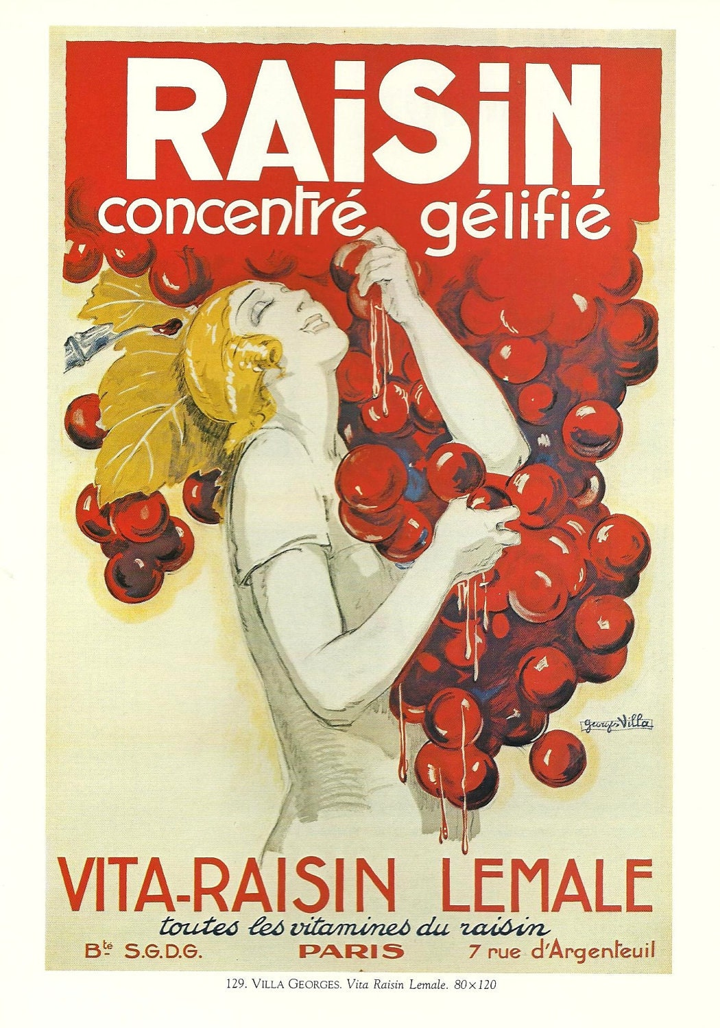 Vintage french wine advertisement poster red bunch of for Cuisine art deco