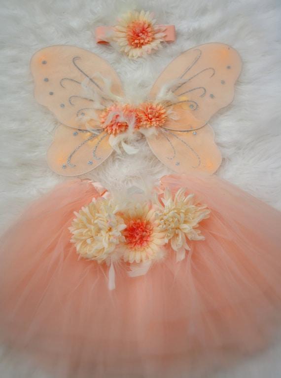 3 Piece Peach Tutu & Fairy Wings Set with Matching Headband
