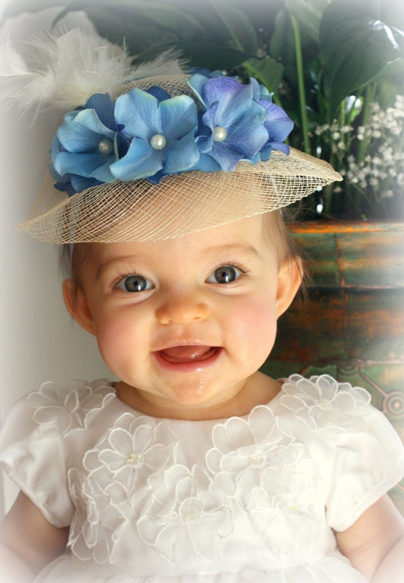 Baby Headband - Baby Hat - Infant Easter Hat with Blue Hydrangea Flowers, Pearls, and Feathers