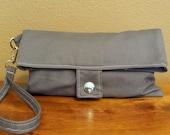 Foldover Clutch in Grey Twill