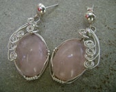 Rose Quartz Wire Wrapped Silver Earrings