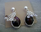 Sterling Silver Cat Eye Scapolite and Crystals Earrings
