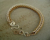 Bronze and Sterling Silver Persian Chainmaille Bracelet
