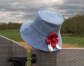 Garden Hat Sun Hat Gardener's Gift Women's Hat - Upcycled denim, Red Gingham, Fabric Flower, Vintage Lace