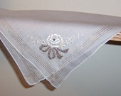 Vintage Wedding Handkerchief Bride's Hanky White Embroidered Rose Gold Thread Formal